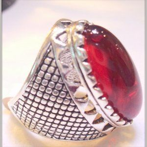 Vintage Bohemia men Rings Ancient Red Natural Ston